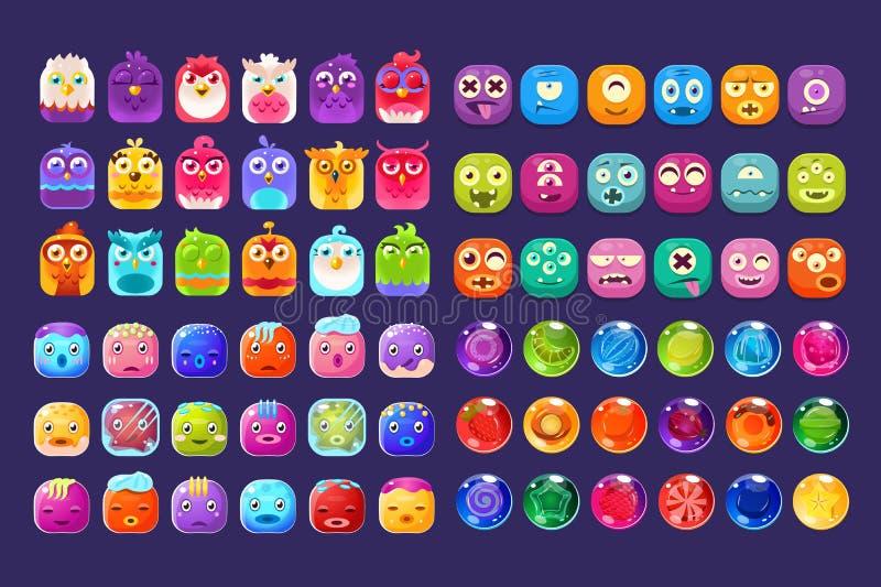 不同的形状五颜六色的光滑的图,流动应用程序或电子游戏传染媒介的用户界面财产的汇集 皇族释放例证