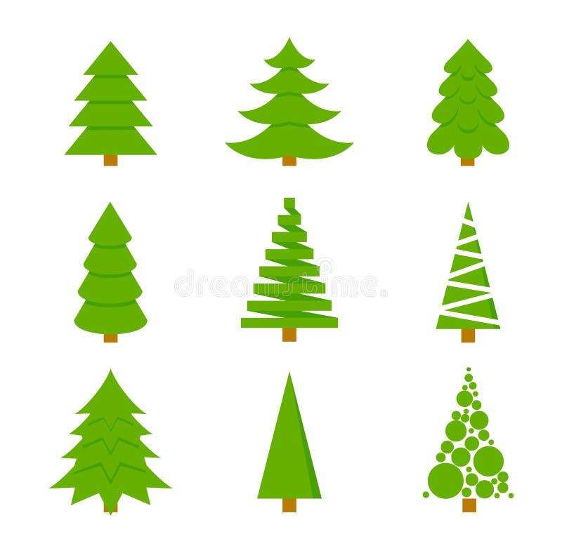 不同的形状冷杉  套圣诞树象在一个平的样式的 被隔绝的传染媒介 皇族释放例证