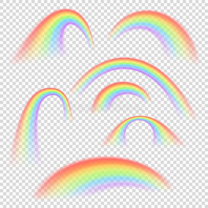 不同的彩虹光形状被隔绝的传染媒介收藏 库存例证