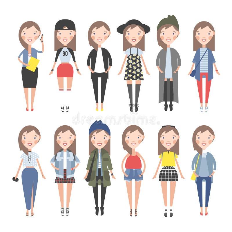 不同的情况的女孩礼服 向量例证