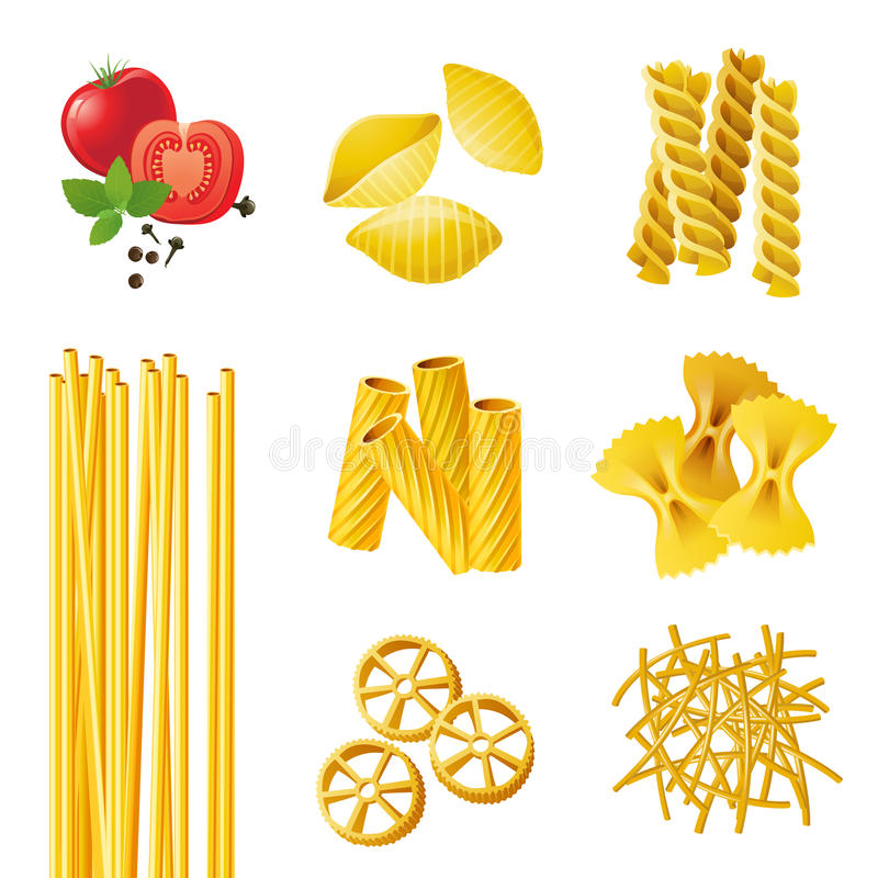 不同的意大利面食类型 皇族释放例证