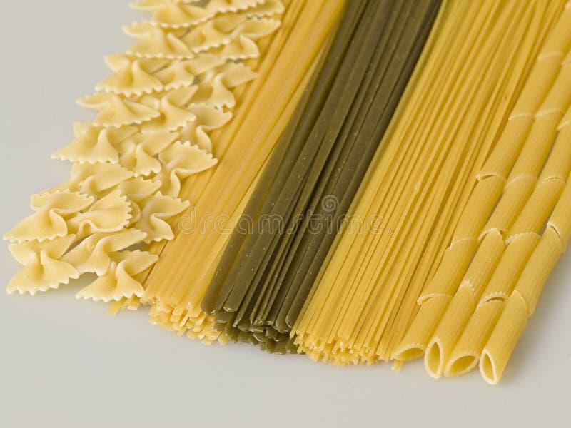 不同的意大利面食类型 免版税库存照片