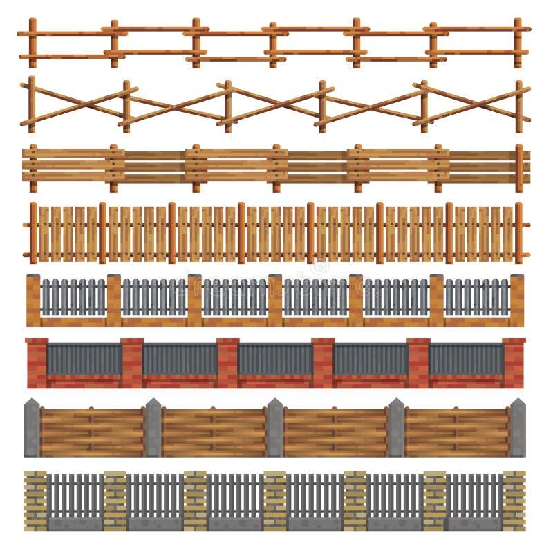 不同的无缝的木头和砖篱芭 向量 库存例证