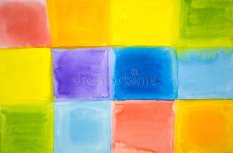 不同的明亮的颜色抽象正方形  向量例证
