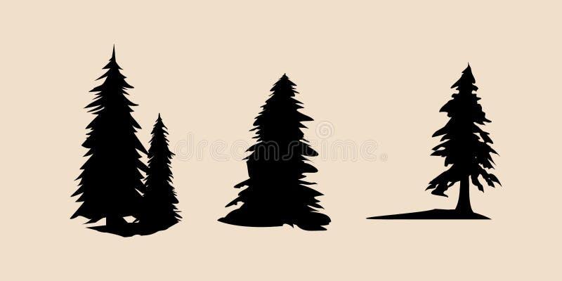 不同的松树传染媒介剪影  松树例证集合,黑剪影树传染媒介,松树传染媒介 库存例证