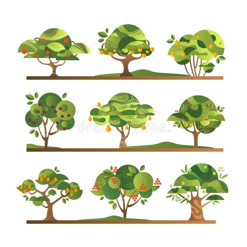 不同的果树设置了,苹果,桔子,柠檬,梨,花揪,杏子,李子,与成熟果子传染媒介的樱桃树 库存例证