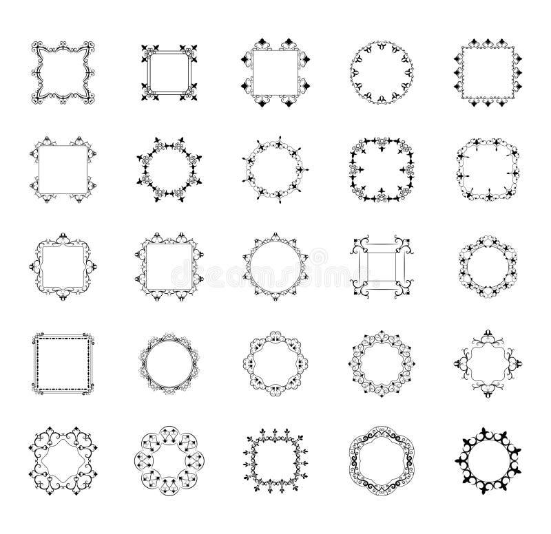 不同的框架和组合图案排行象集合 向量例证