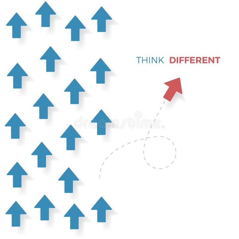 不同的概念认为 红色从蓝色箭头的箭头移动不同的方式 到达天空的企业概念金黄回归键所有权 向量 皇族释放例证