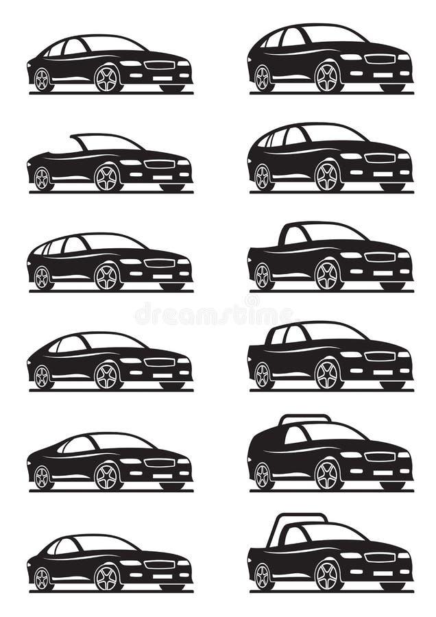 不同的汽车和路 向量例证