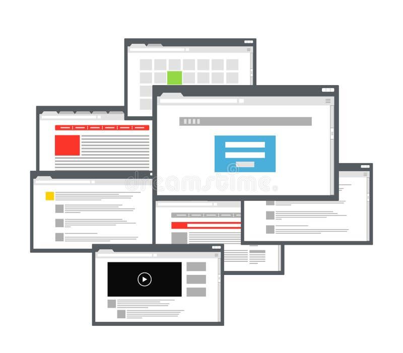 不同的浏览器视窗 皇族释放例证