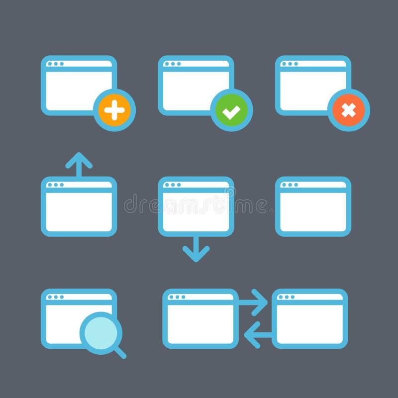 不同的浏览器象设置与圆角落 库存例证