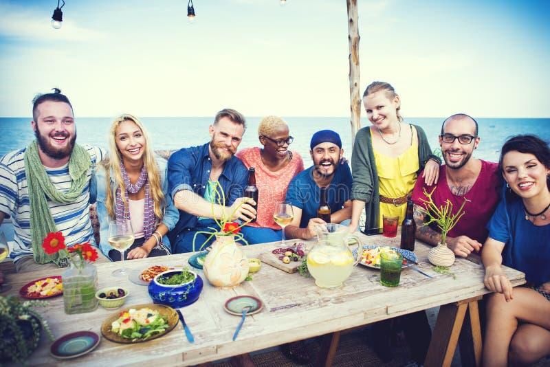 不同的海滩夏天党屋顶上面乐趣概念 库存照片