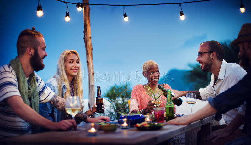 不同的海滩夏天党屋顶上面乐趣概念 免版税库存照片