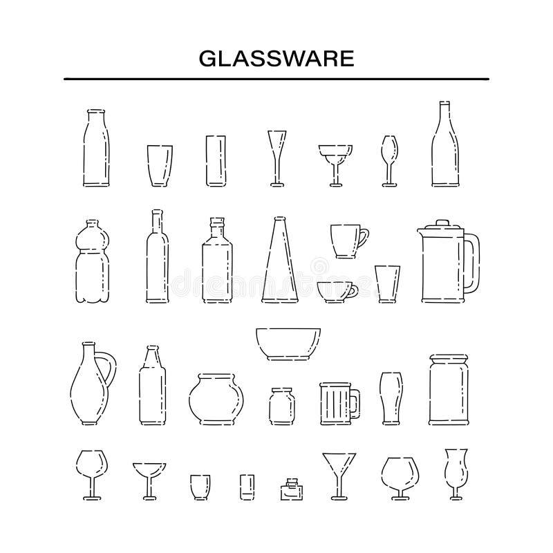 不同的液体的集合玻璃器皿 瓶和玻璃线艺术传染媒介黑色白色被隔绝的例证 库存例证