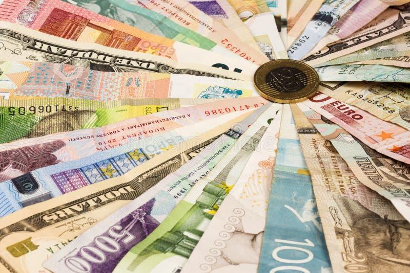 不同的混杂的钞票 库存图片