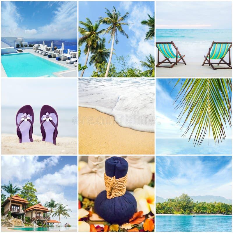 不同的温泉和旅行元素的汇集 免版税库存图片