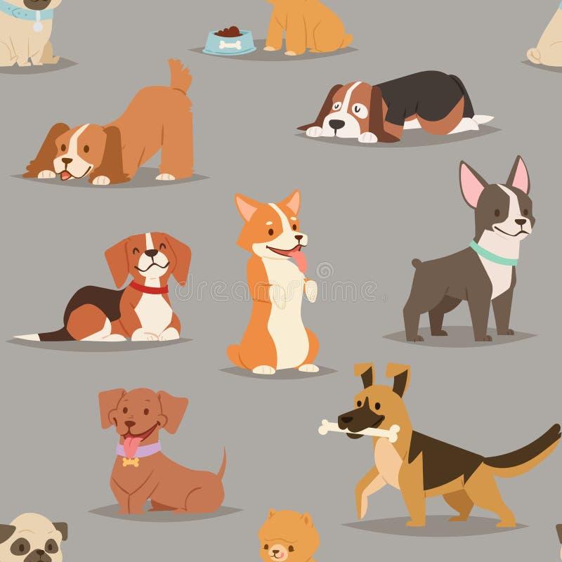 不同的狗助长逗人喜爱的小狗字符无缝的样式 库存例证