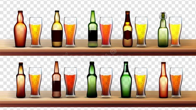 不同的瓶和玻璃与啤酒集合传染媒介 向量例证