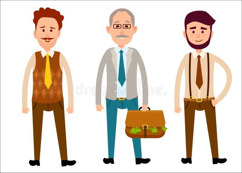 不同的看起来平的动画片题材的三个人 库存例证