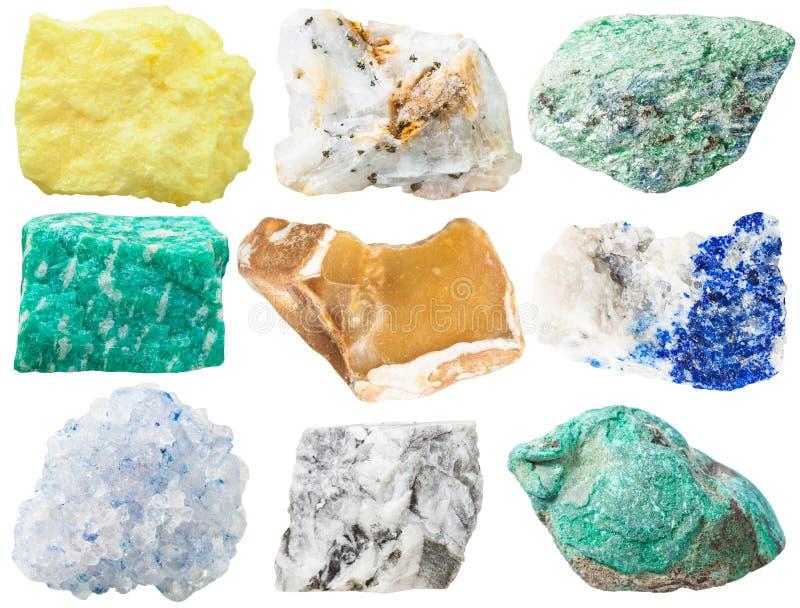 不同的矿物岩石和石头的汇集 免版税库存照片