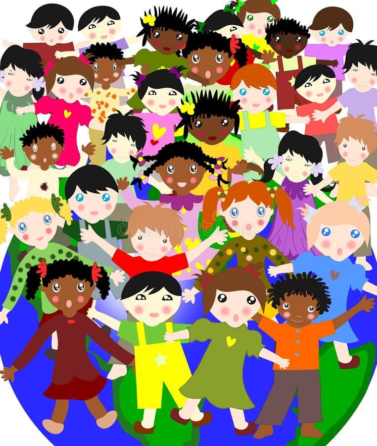 不同的种族在世界上,概念的愉快的孩子 库存例证