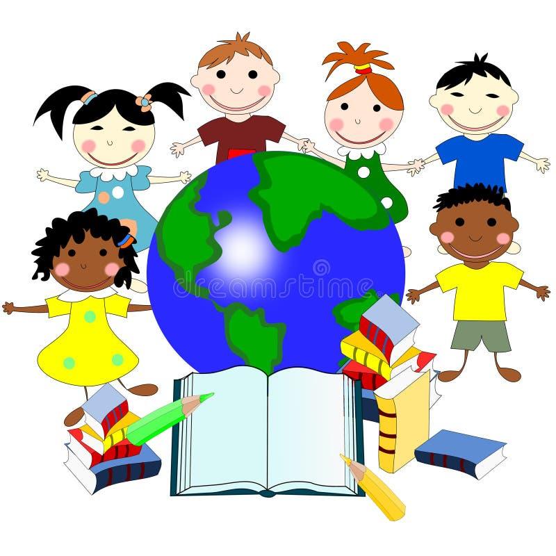 不同的种族的孩子与书的和世界的地图 库存例证