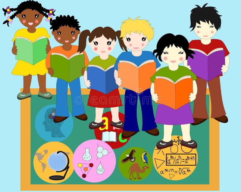 不同的种族的孩子与书的在手上临近委员会 向量例证