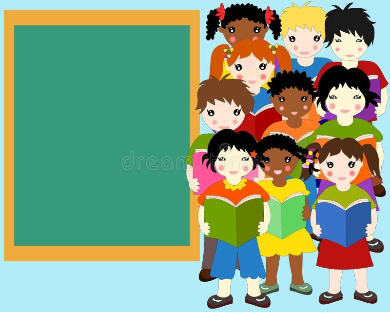 不同的种族的孩子与书的在手上 向量例证