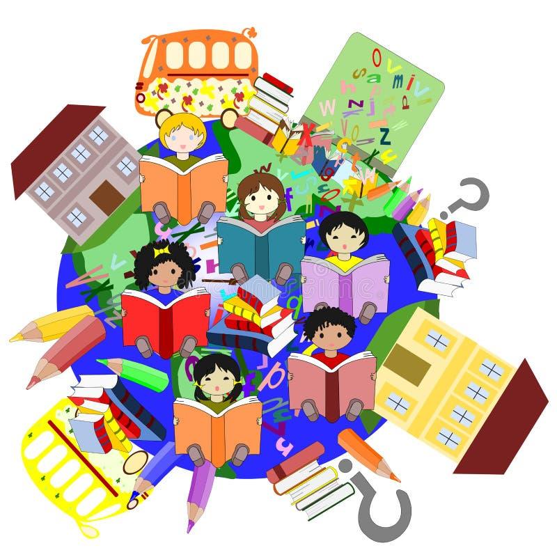 不同的种族阅读书的愉快的孩子 皇族释放例证
