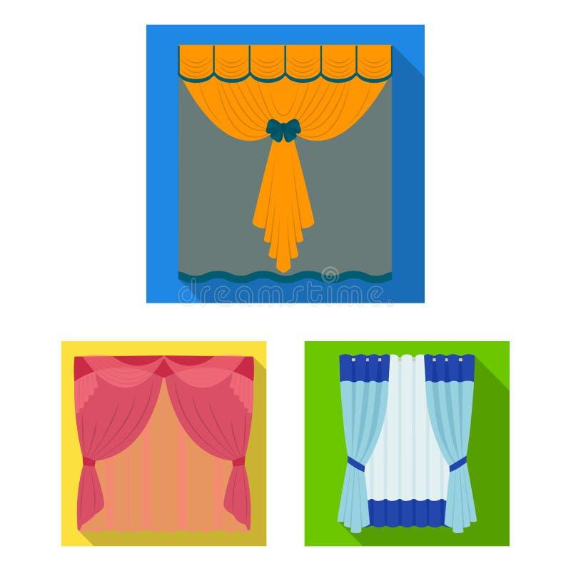 不同的种类在集合汇集的帷幕平的象的设计 帷幕和lambrequins传染媒介标志股票网 皇族释放例证