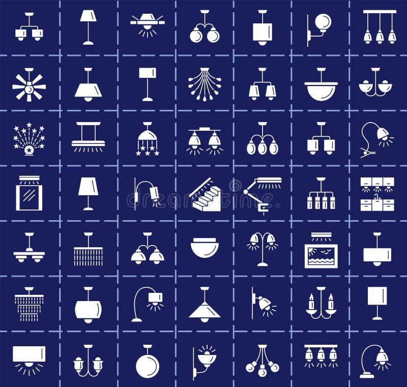 不同的种类墙壁、天花板、桌和落地灯 现代 皇族释放例证