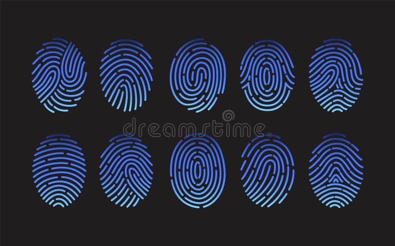 不同的类型指纹的汇集在黑背景隔绝的  捆绑人摩擦土坎踪影  向量例证