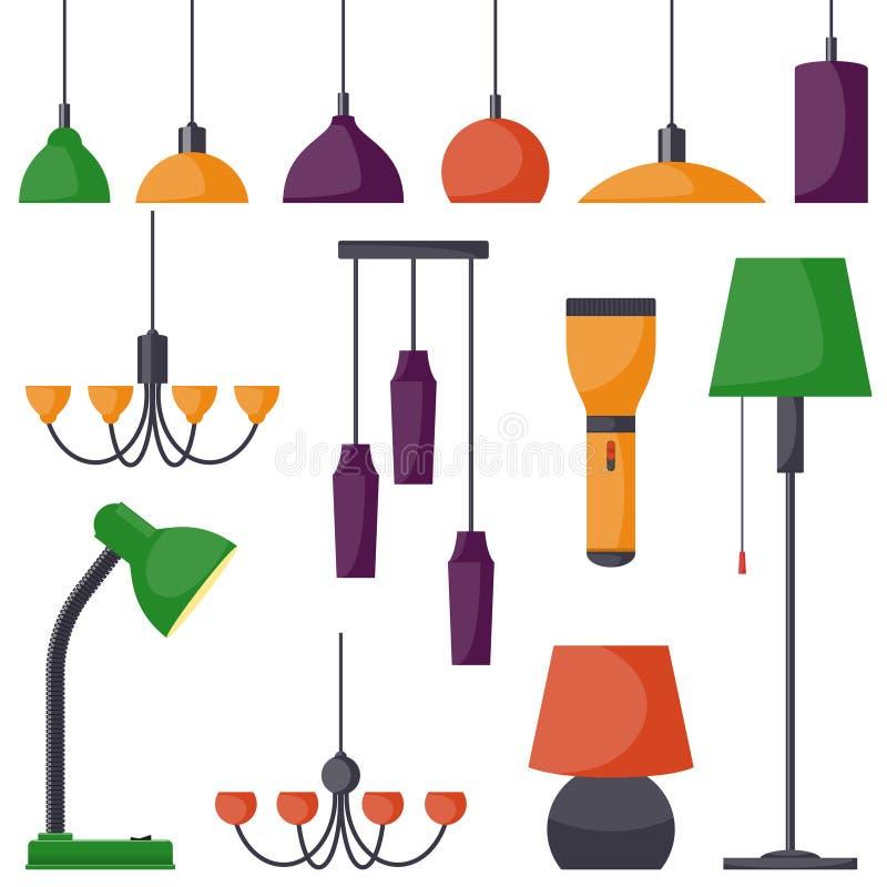 不同的类型,集合灯  枝形吊灯,灯,电灯泡,台灯,手电,落地灯-现代内部的元素 向量 向量例证