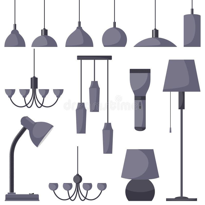 不同的类型,集合灯  枝形吊灯,灯,电灯泡,台灯,手电,落地灯-现代内部的元素 向量 皇族释放例证