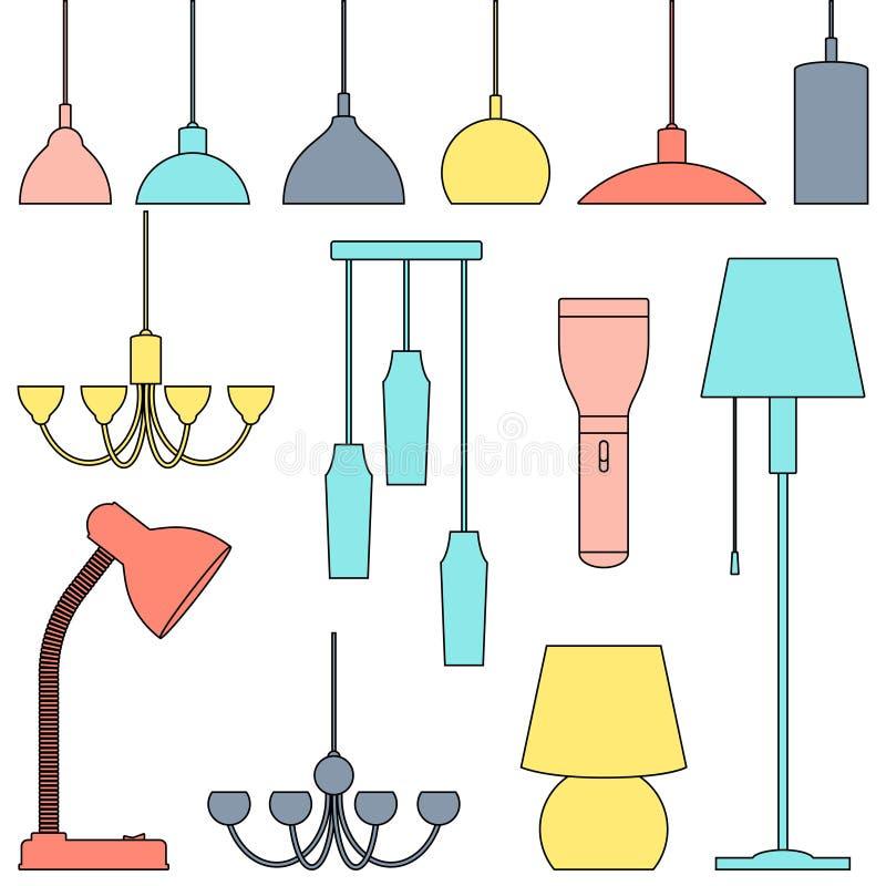 不同的类型,集合灯  枝形吊灯,灯,电灯泡,台灯,手电,落地灯-现代内部的元素 排行a 向量例证