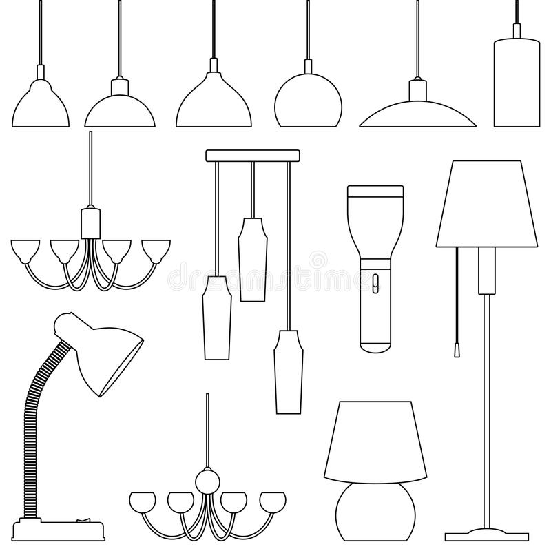 不同的类型,集合灯  枝形吊灯,灯,电灯泡,台灯,手电,落地灯-现代内部的元素 排行a 库存例证