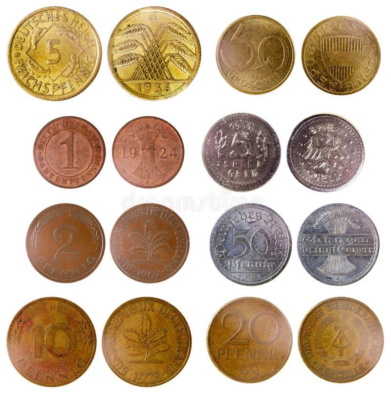 不同的老德国硬币 库存图片