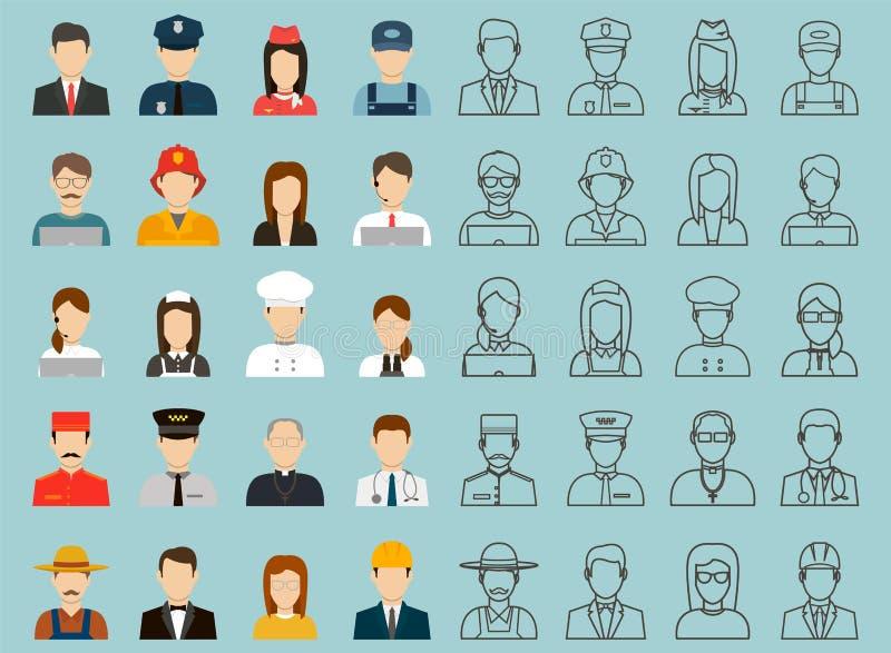 不同的职业的人们 被设置的行业图标 平的设计 向量 皇族释放例证