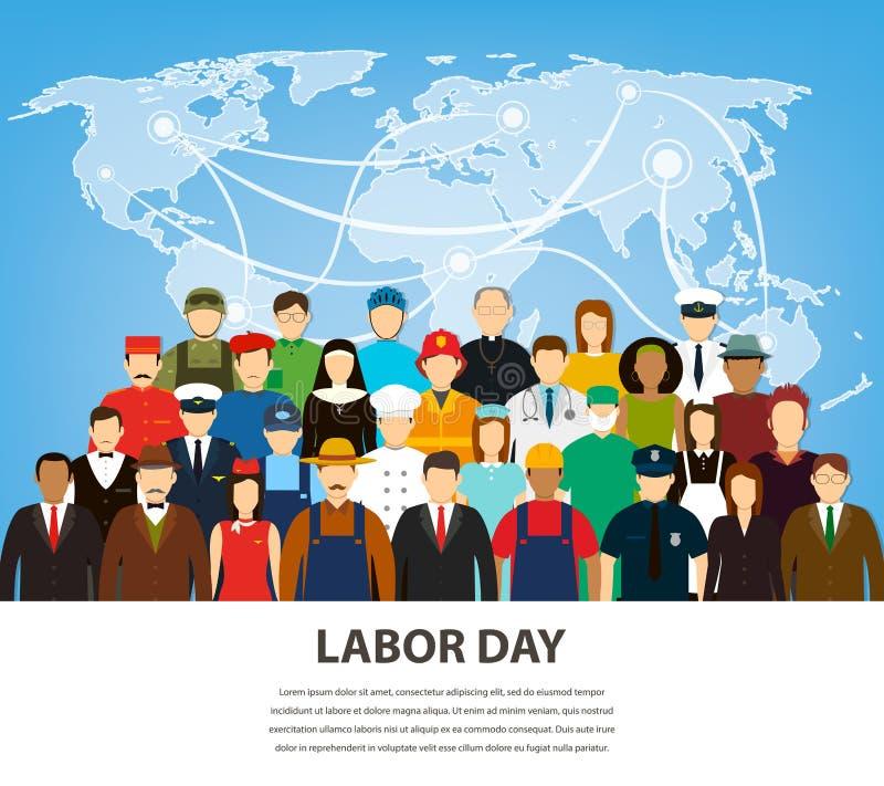 不同的职业的人们 被设置的行业 国际劳动节 平的传染媒介 库存例证