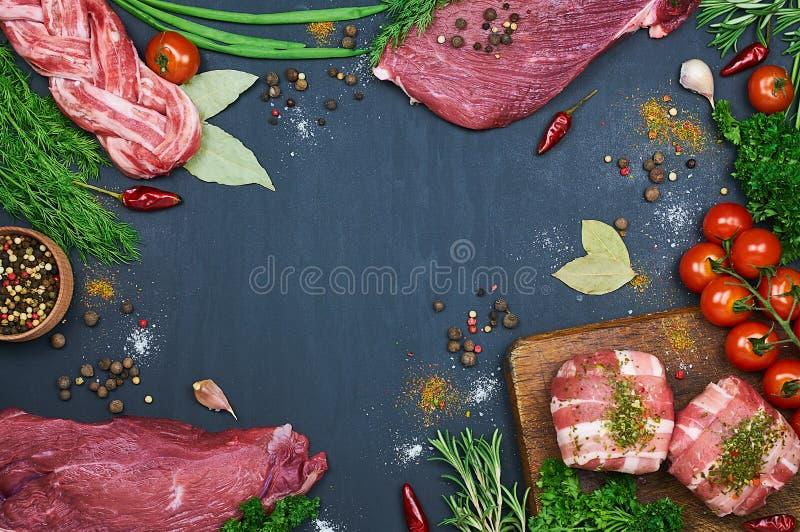 不同的肉类型 库存照片