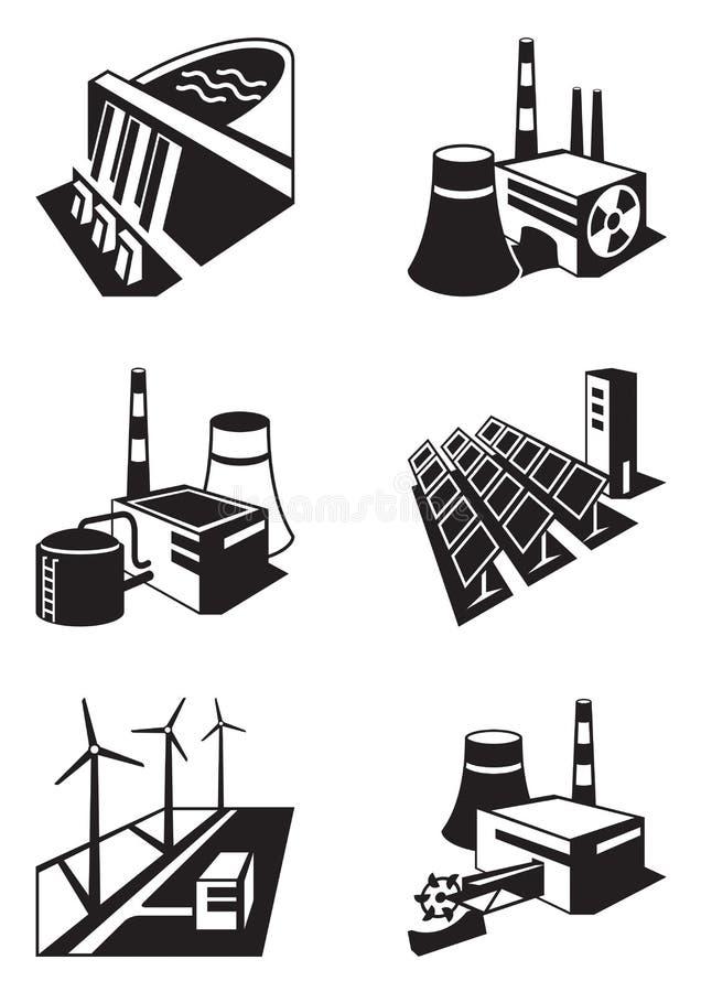 不同的能源厂 向量例证