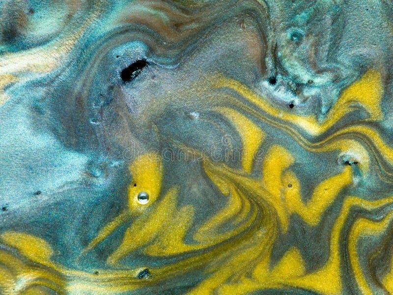 光滑的珠母般的颜料与油,细节混合了 库存图片