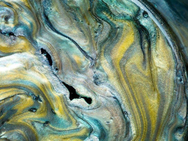 光滑的珠母般的颜料与油,细节混合了 免版税库存照片