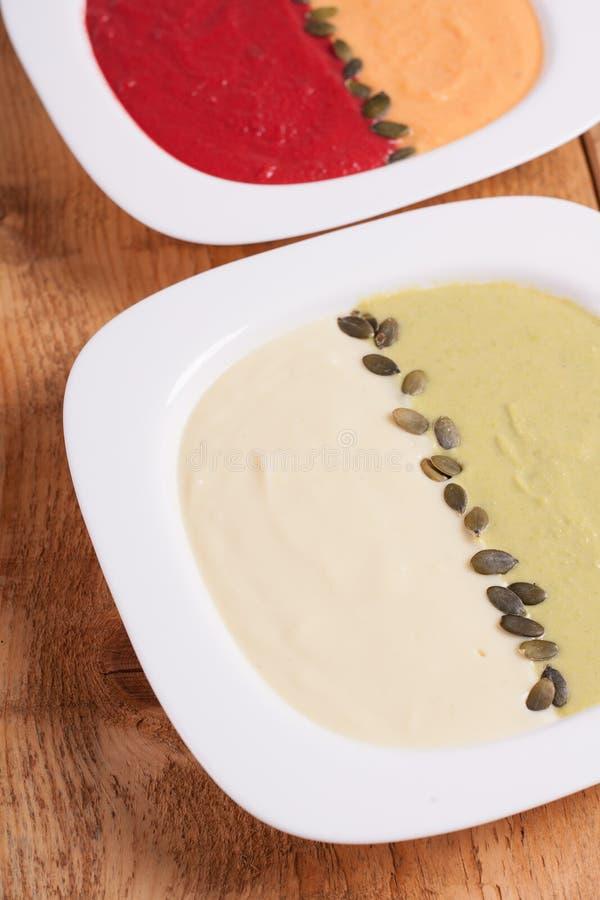 不同的色的纯汁浓汤汤 库存图片
