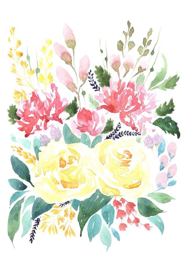 不同的花水彩花束  库存照片