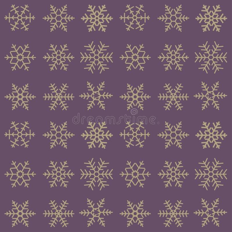 不同的蓝色几何雪花的无缝的简单的样式 向量例证