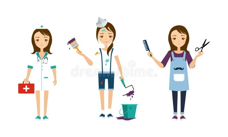 不同的行业集合,画家,美发师在白色背景的传染媒介例证医生的,妇女 皇族释放例证