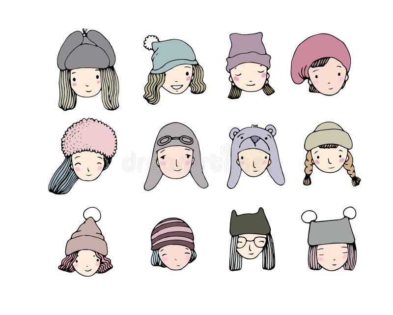不同的表面 冬天帽子的人们 手在白色背景的图画对象 皇族释放例证