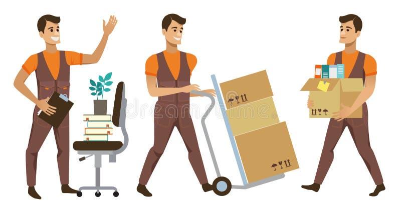 不同的送货业务工作者和客户,交付包裹和搬家工人的微笑的传讯者带来套例证 向量例证