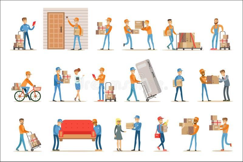 不同的送货服务工作者和客户,交付包裹和搬家工人的微笑的传讯者带来家具集合 皇族释放例证
